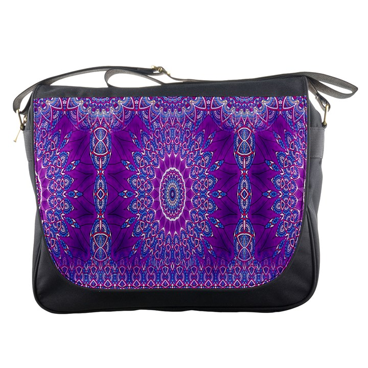 India Ornaments Mandala Pillar Blue Violet Messenger Bags