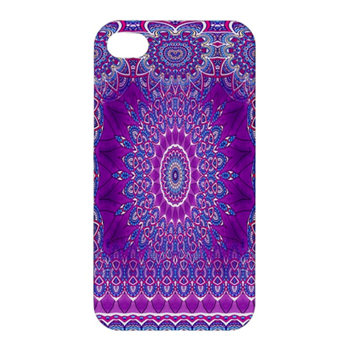 India Ornaments Mandala Pillar Blue Violet Apple iPhone 4/4S Premium Hardshell Case