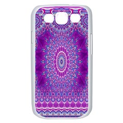 India Ornaments Mandala Pillar Blue Violet Samsung Galaxy S III Case (White)