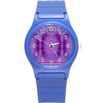 India Ornaments Mandala Pillar Blue Violet Round Plastic Sport Watch (S) Front