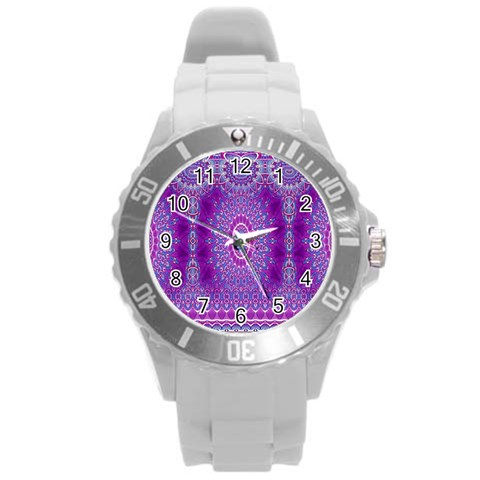India Ornaments Mandala Pillar Blue Violet Round Plastic Sport Watch (L)