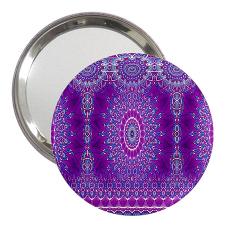 India Ornaments Mandala Pillar Blue Violet 3  Handbag Mirrors