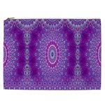 India Ornaments Mandala Pillar Blue Violet Cosmetic Bag (XXL)  Front