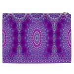 India Ornaments Mandala Pillar Blue Violet Cosmetic Bag (XXL)  Back