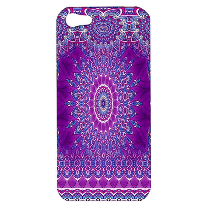 India Ornaments Mandala Pillar Blue Violet Apple iPhone 5 Hardshell Case