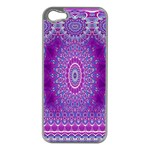 India Ornaments Mandala Pillar Blue Violet Apple iPhone 5 Case (Silver) Front