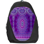 India Ornaments Mandala Pillar Blue Violet Backpack Bag Front