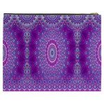 India Ornaments Mandala Pillar Blue Violet Cosmetic Bag (XXXL)  Back