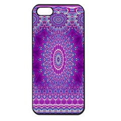 India Ornaments Mandala Pillar Blue Violet Apple iPhone 5 Seamless Case (Black)