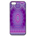 India Ornaments Mandala Pillar Blue Violet Apple iPhone 5 Seamless Case (Black) Front