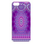 India Ornaments Mandala Pillar Blue Violet Apple iPhone 5 Seamless Case (White) Front