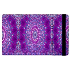India Ornaments Mandala Pillar Blue Violet Apple iPad 2 Flip Case