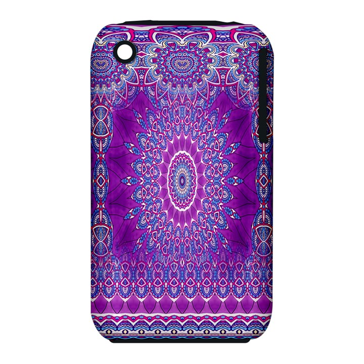India Ornaments Mandala Pillar Blue Violet Apple iPhone 3G/3GS Hardshell Case (PC+Silicone)