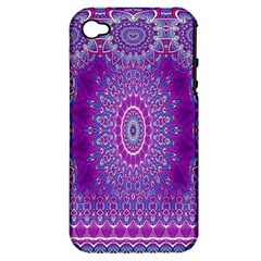 India Ornaments Mandala Pillar Blue Violet Apple iPhone 4/4S Hardshell Case (PC+Silicone)