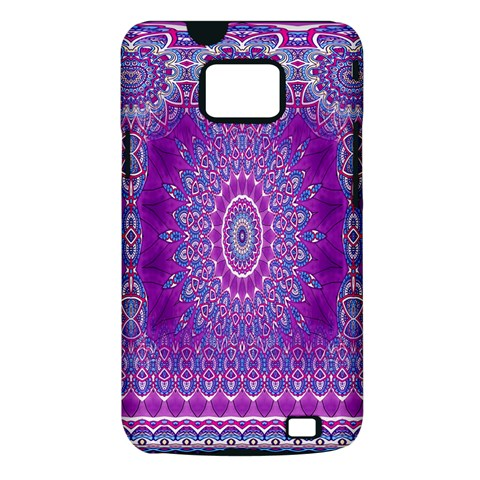 India Ornaments Mandala Pillar Blue Violet Samsung Galaxy S II i9100 Hardshell Case (PC+Silicone)