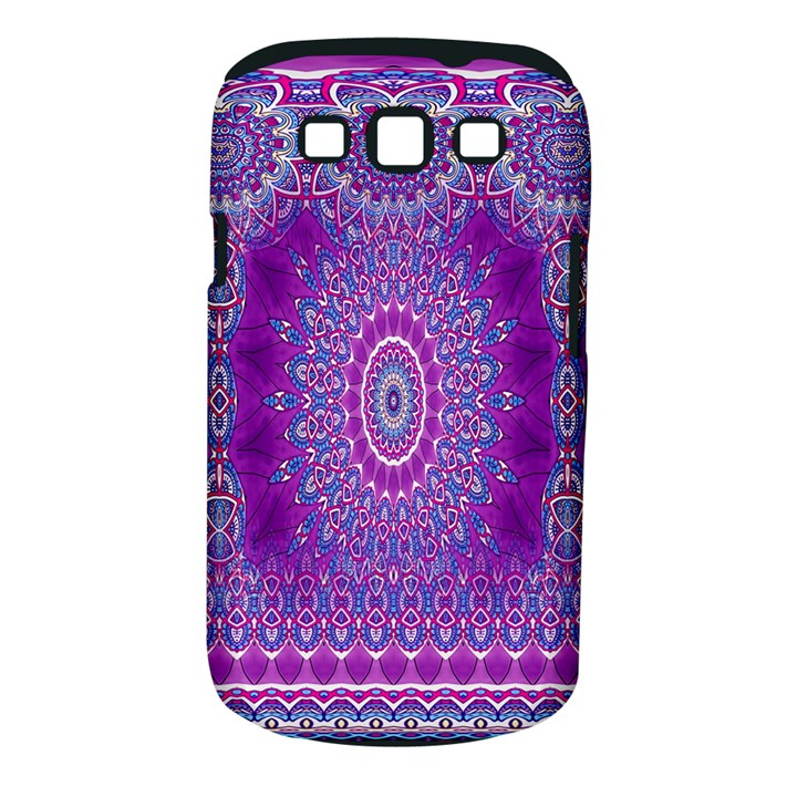 India Ornaments Mandala Pillar Blue Violet Samsung Galaxy S III Classic Hardshell Case (PC+Silicone)