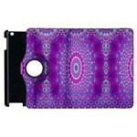India Ornaments Mandala Pillar Blue Violet Apple iPad 2 Flip 360 Case Front