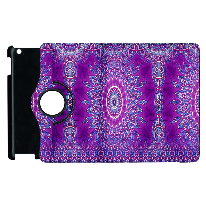 India Ornaments Mandala Pillar Blue Violet Apple iPad 2 Flip 360 Case