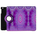 India Ornaments Mandala Pillar Blue Violet Apple iPad Mini Flip 360 Case Front