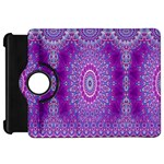 India Ornaments Mandala Pillar Blue Violet Kindle Fire HD Flip 360 Case Front