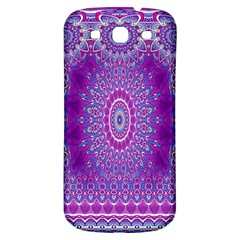 India Ornaments Mandala Pillar Blue Violet Samsung Galaxy S3 S III Classic Hardshell Back Case