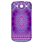 India Ornaments Mandala Pillar Blue Violet Samsung Galaxy S3 S III Classic Hardshell Back Case Front