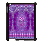India Ornaments Mandala Pillar Blue Violet Apple iPad 3/4 Case (Black) Front