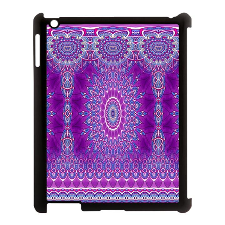 India Ornaments Mandala Pillar Blue Violet Apple iPad 3/4 Case (Black)