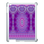 India Ornaments Mandala Pillar Blue Violet Apple iPad 3/4 Case (White) Front
