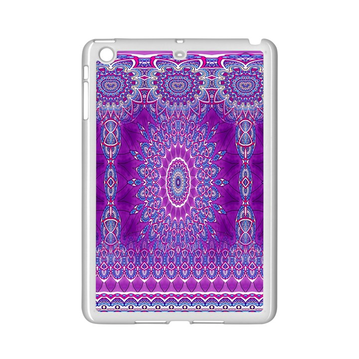 India Ornaments Mandala Pillar Blue Violet iPad Mini 2 Enamel Coated Cases