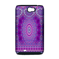 India Ornaments Mandala Pillar Blue Violet Samsung Galaxy Note 2 Hardshell Case (PC+Silicone)