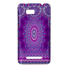 India Ornaments Mandala Pillar Blue Violet HTC One SU T528W Hardshell Case