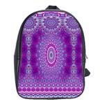 India Ornaments Mandala Pillar Blue Violet School Bags (XL)  Front