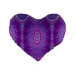India Ornaments Mandala Pillar Blue Violet Standard 16  Premium Heart Shape Cushions Front