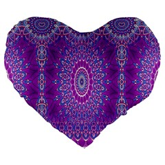 India Ornaments Mandala Pillar Blue Violet Large 19  Premium Heart Shape Cushions