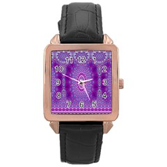 India Ornaments Mandala Pillar Blue Violet Rose Gold Leather Watch