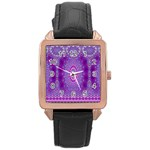 India Ornaments Mandala Pillar Blue Violet Rose Gold Leather Watch  Front