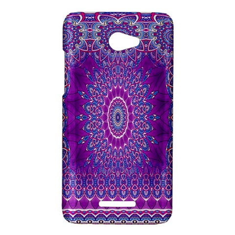 India Ornaments Mandala Pillar Blue Violet HTC Butterfly X920E Hardshell Case