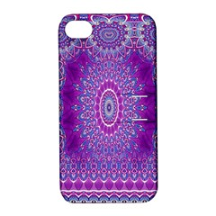 India Ornaments Mandala Pillar Blue Violet Apple Iphone 4/4s Hardshell Case With Stand