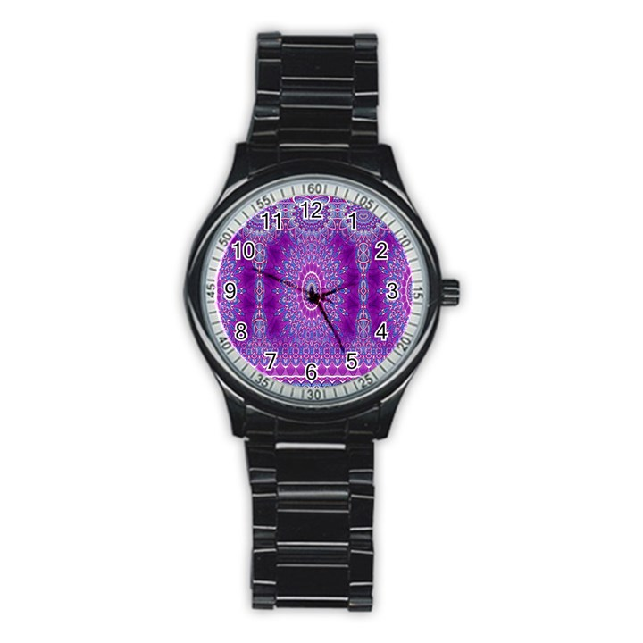 India Ornaments Mandala Pillar Blue Violet Stainless Steel Round Watch