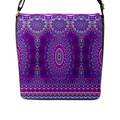 India Ornaments Mandala Pillar Blue Violet Flap Messenger Bag (L)