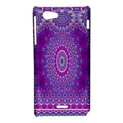 India Ornaments Mandala Pillar Blue Violet Sony Xperia J