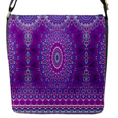 India Ornaments Mandala Pillar Blue Violet Flap Messenger Bag (S)