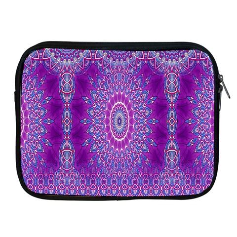 India Ornaments Mandala Pillar Blue Violet Apple iPad 2/3/4 Zipper Cases