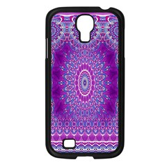 India Ornaments Mandala Pillar Blue Violet Samsung Galaxy S4 I9500/ I9505 Case (Black)