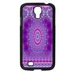 India Ornaments Mandala Pillar Blue Violet Samsung Galaxy S4 I9500/ I9505 Case (Black) Front