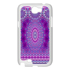 India Ornaments Mandala Pillar Blue Violet Samsung Galaxy Note 2 Case (White)