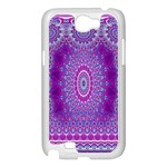 India Ornaments Mandala Pillar Blue Violet Samsung Galaxy Note 2 Case (White) Front