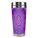 India Ornaments Mandala Pillar Blue Violet Stainless Steel Travel Tumblers Center