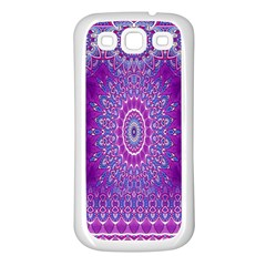 India Ornaments Mandala Pillar Blue Violet Samsung Galaxy S3 Back Case (white)